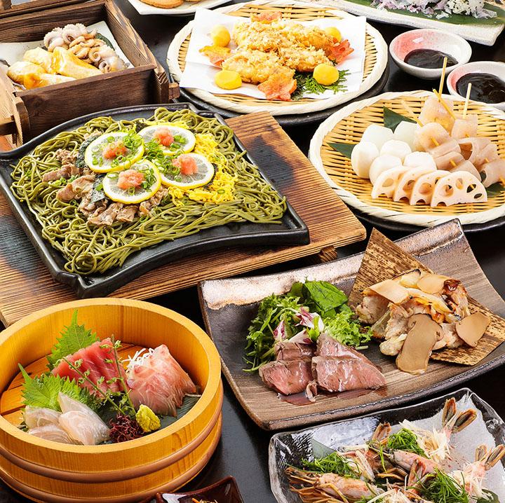 県産山海の幸と瓦そばの宴 2.5時間飲み放題付 全10品 6,000円(税込)