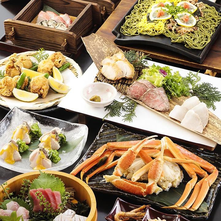 県産山海の幸と瓦そばの宴 2.5時間飲み放題付 全10品 7,000円(税込)