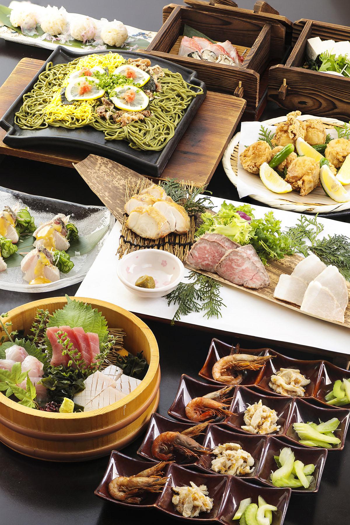 県産山海の幸と瓦そばの宴 2.5時間飲み放題付 全9品 6,000円(税込)