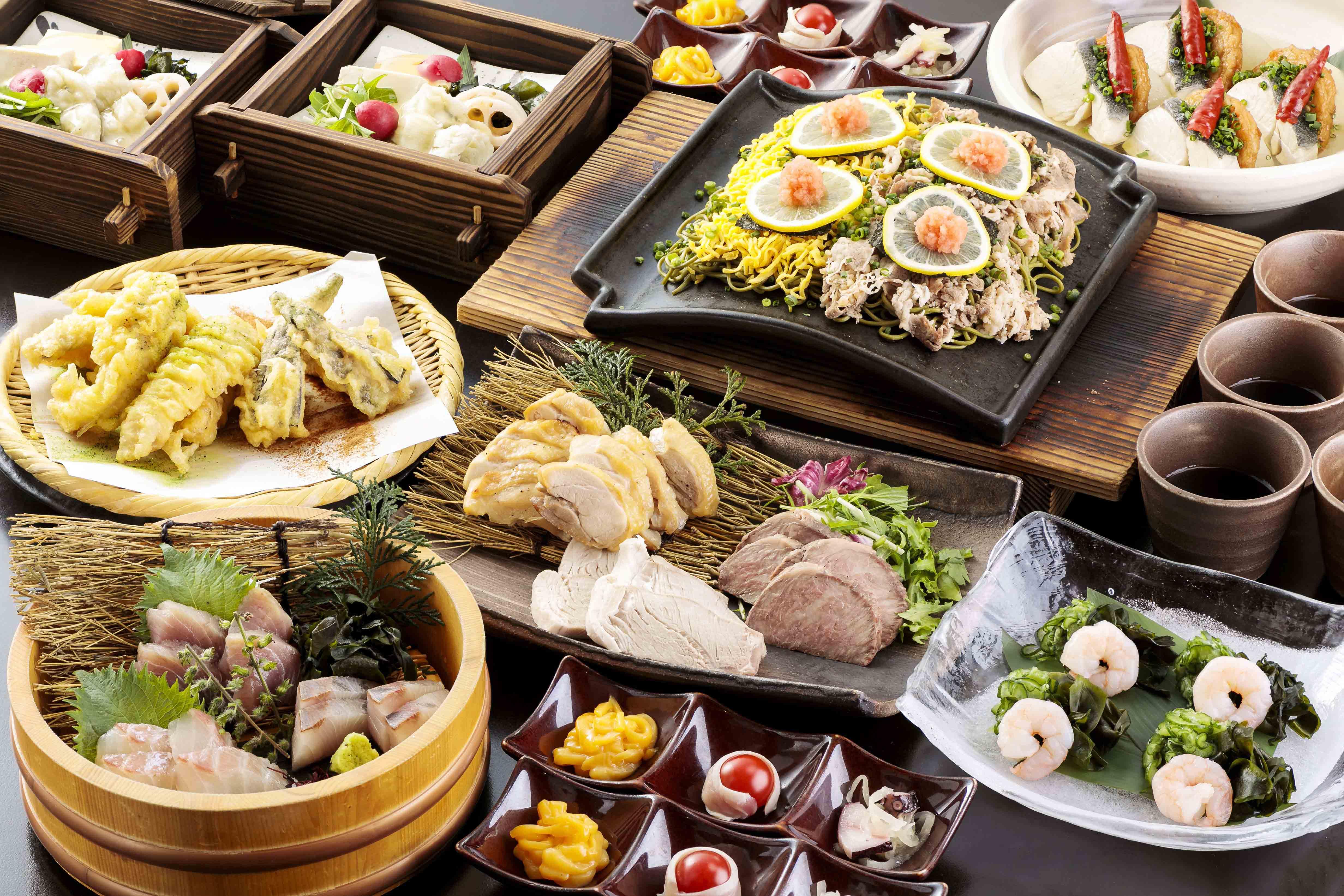 山海の幸と瓦そばの宴 2.5時間飲み放題付 全9品 6,000円(税込)