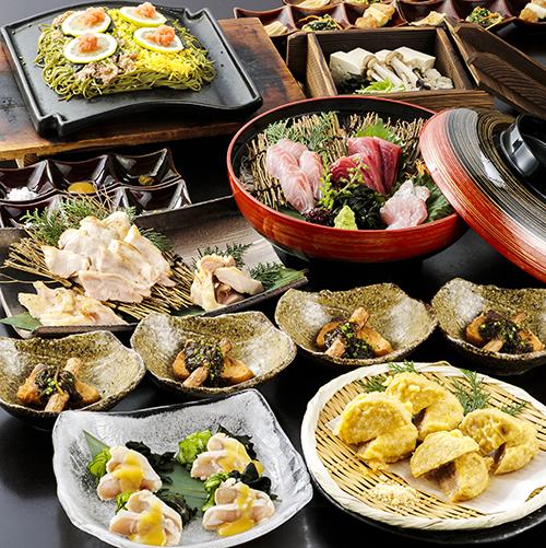 長州黒かしわと瓦そばの宴 2.5時間飲み放題付 全9品 6,000円(税込)